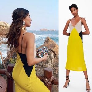 Zara Colorblock Yellow Black Midi Slip Dress